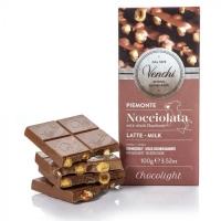 """Cioccolato al Latte """"Chocolight"""" con Nocciole senza zuccheri aggiunti Tavoletta 100 gr Venchi"""