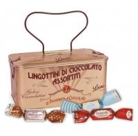 Scrigno in Latta con Lingottini di Cioccolato assortiti 150 gr Pastiglie Leone