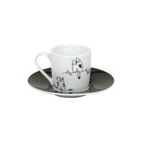 Tazza Caffè con Piattino in Porcellana Funny Cats Konitz