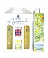 """""""Tris Agrumeto"""" Limoncello di Sorrento Igp 50 cl-Liquore di Agrumi 50 cl  e 2 Bicchieri in ceramica Piemme"""